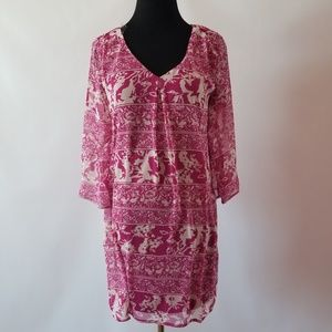NWT Pink Owl Printed Bell Sleeves Shift Dress